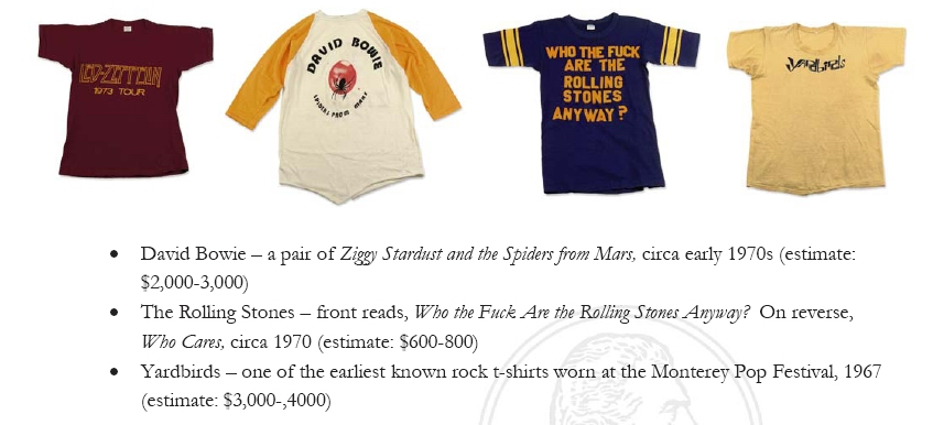 christies rock tee shirt auction