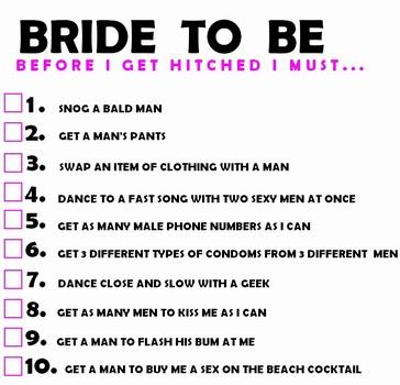 Hen Night Bride S Rauchy Task List To Embarr Her