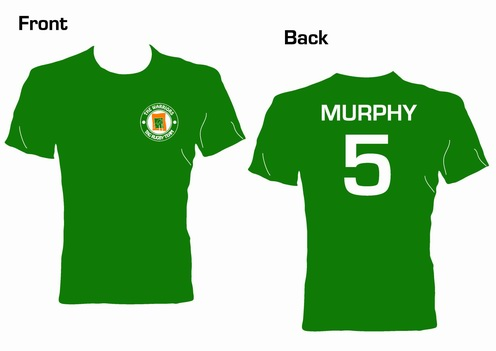 tag rugby tee shirt with team crest individual surname and number on back